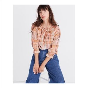 NWT-Madewell-Plaid Tie-Neck Ruffle-Sleeve Top